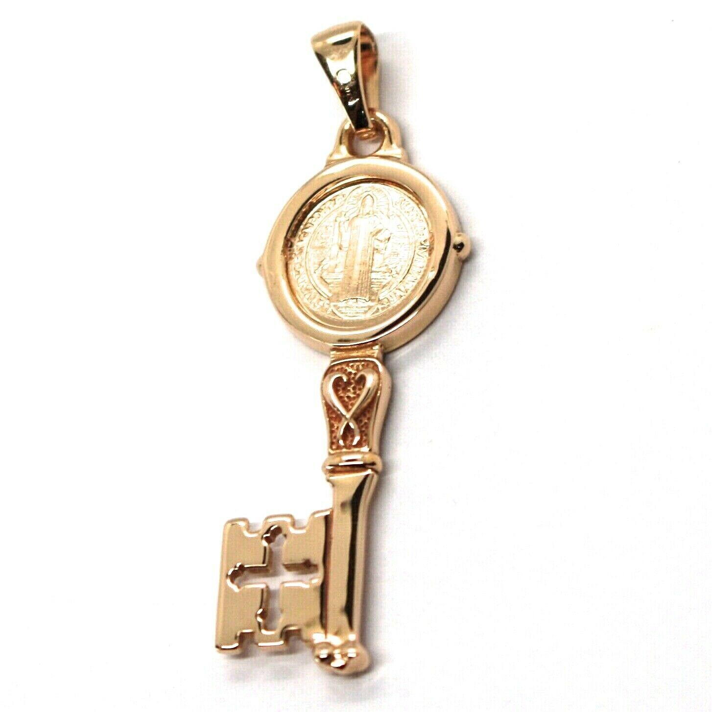 SOLID 18K ROSE GOLD KEY PENDANT, SAINT BENEDICT MEDAL, CROSS, 1.2 INCHES