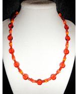 "18"" Orange Pop artglass bead necklace - $58.00"