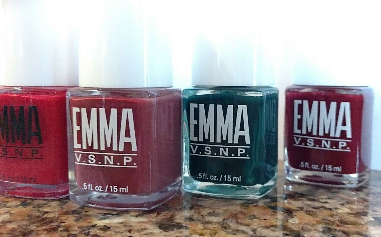 EMMA VSNP Nail Polish 6 Piece Set - Rose Red, Green, Burgundy, Blue, Pink Cream