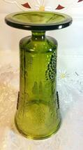 "Indiana Glass Colony Grapes & Leaves Avocado Green Vase 9 5/8"" tall image 6"
