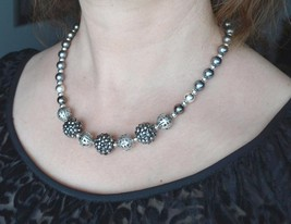 Statement large beads necklace, Silver Beaded Necklace, Dark, Metallic (425 - $28.00