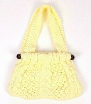Vintage 60s Chunky Ivory Cable Knit Shoulder Bag Satchel Purse Retro Doc... - $39.59