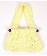 Vintage 60s Chunky Ivory Cable Knit Shoulder Bag Satchel Purse Retro Doc... - $39.59
