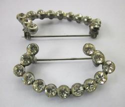 "PAIR of ANGULAR RHINESTONE PINS MATCHING PIN SET Vintage 1 ½"" x ¾"" - $9.49"