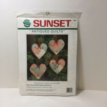 """Calico Christmas Hearts Embroidery Kit Sunsets 3.5"""" Antiqued Quilts - $9.74"""