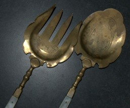 Antique Bronze Mother Of Pearl Handles Salad Serving Set Decorated Engrave 1900s image 3
