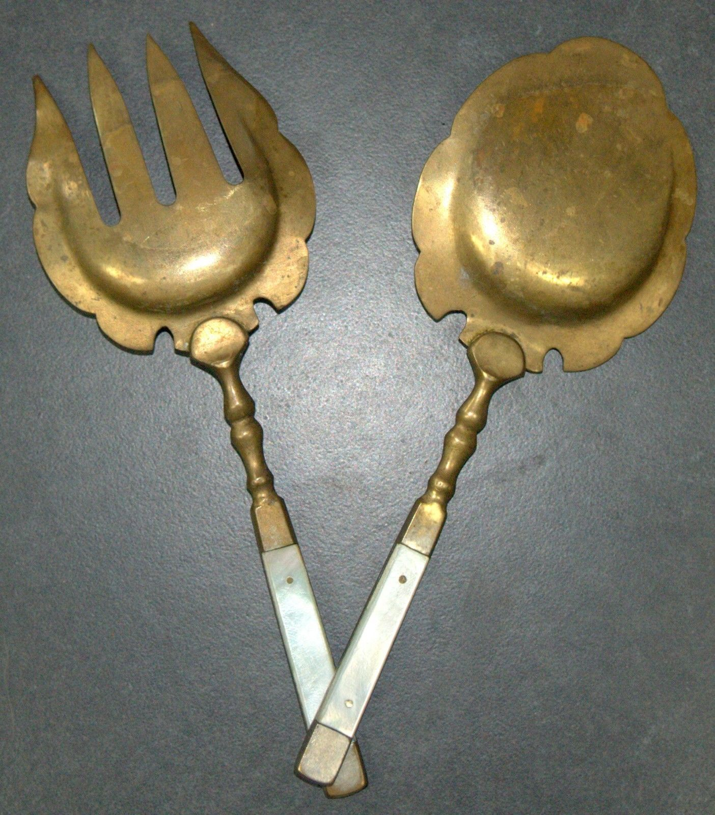 Antique Bronze Mother Of Pearl Handles Salad Serving Set Decorated Engrave 1900s