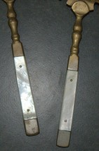 Antique Bronze Mother Of Pearl Handles Salad Serving Set Decorated Engrave 1900s image 2