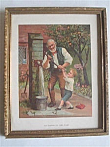 Vintage Print Framed - All Hands To The Pump