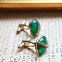Vintage Green Lucite Cufflinks Deco Style Divided Diagonal Square Geomet... - $20.00