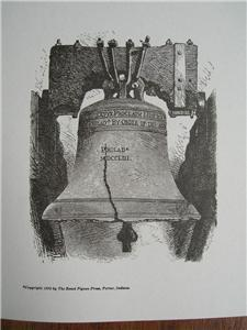 LIBERTY BELL Engraved WOODCUT Print PHILADELPHIA 1851