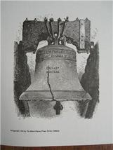 LIBERTY BELL Engraved WOODCUT Print PHILADELPHI... - $6.00