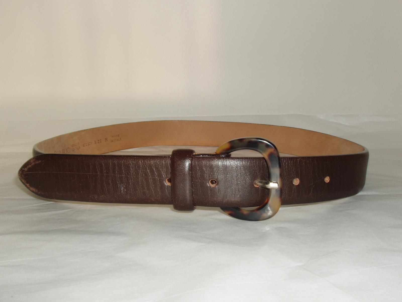 banana republic brown leather tortoise shell buckle belt