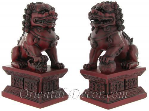 Burgundy Color Foo Dogs (Medium Size) Resin Statues