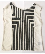 Black White Geometric Mesh Front Shirt S Open Back Sexy Blouse Clubbing Top - $11.87