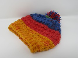 Handcrafted Knitted Hat Textured Pom Pom 100% Acrylic Unisex Kids 0-1 St... - $25.76