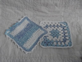 SET OF 2 HAND CROCHETED DISH CLOTHS BLUE WHITE WASH CLEAN - $7.00
