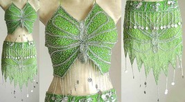 Turkish Belly Dancing Costumes Green AS with Silver Embroidery - $49.99