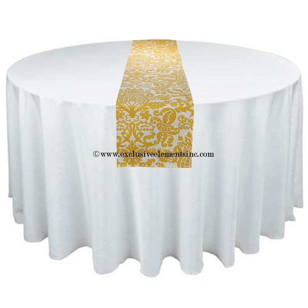 Damask Yellow And White Table Runner Damask Table Runner Yellow Wedding    $16.00