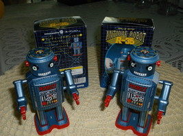 """Two """" Antique Robot R-35""""Wind Up Robots by MASUDAYA CORP, Boxes Included - $53.50"""