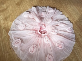 FLOWER CIRCLE Princess Tulle Skirt High Waist Handmade Blush Pink Midi Skirts  image 3