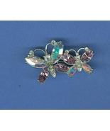 Sparkly Butterflies Costume Jewelry Pin Brooch Clear and Lavender Rhines... - $6.99