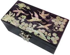 Eingelegter Mutter der Perle Schmuck Schmuck Box Finetree lila Lack - $42.47
