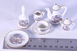 Avon SMALL TREASURES MINIATURES Tea Coffee Set CURRIER & IVES for dolls - $27.72