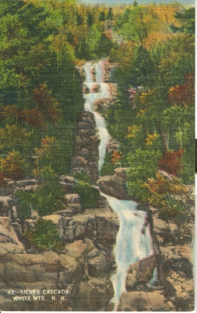 Silver Cascade, White Mts. NH, unused linen Postcard