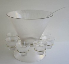 Norse Punch Bowl Set Party Federal Glass Ribbed Original Box Free Ship - $71.52