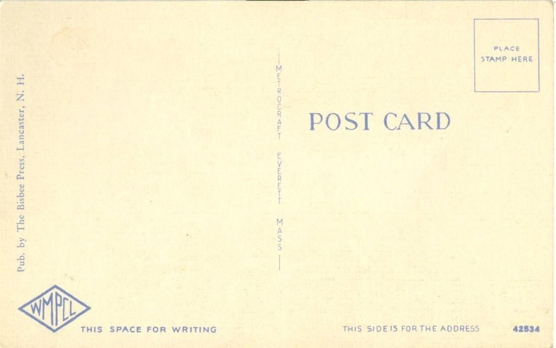 Silver Cascade, White Mts. NH, unused linen Postcard