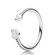 925 Sterling Silver Hearts of Love with Silver Enamel Ring For Women QJCB1225 - $22.88