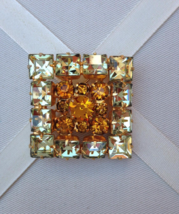 Vintage Crystal Amber Square On Square Fashion Brooch - $50.00