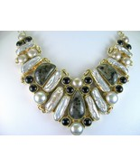 Agate and Onyx with Biwa Pearls Sterling Silver... - $330.58