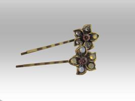 ANTIQUE BRONZE FLOWER BOBBY HAIR PINS... - $25.00