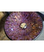 Purple Lilac Round Designer Round Design Handcrafted Glass Tile Bathroom Vessel  - $129.95