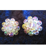 Vintage cluster button earrings aurora borealis signed Western Germany    - $18.00