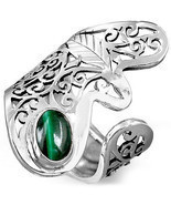 925 Sterling Silver Filigree Ring Natural Malachite Gemstone Adjutable S... - $86.76 CAD