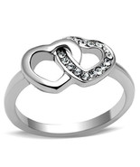 Stainless Steel Valentine Interlocking Hearts Crystal Promise Ring, Size... - $21.99