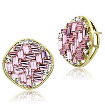Ion Gold Plating Rose Pink Top Grade Crystal Earrings, GQGL34806800 - $39.99