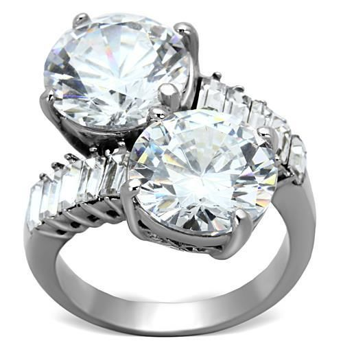 Primary image for Lady's Stainless Steel 5 Ct Clear Round CZ Fashion Cocktail Ring Sz 5,6,7,8,9,10