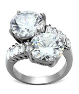 Lady's Stainless Steel 5 Ct Clear Round CZ Fashion Cocktail Ring Sz 5,6,... - $33.79