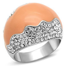 Stainless Steel Clear Crystal Orange Cocktail Fashion  Ring, Size  5,6,7... - $28.99