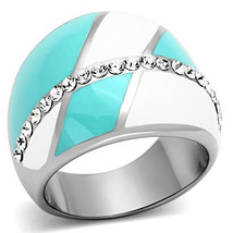 Stainless Steel Clear Crystal White & Blue Cocktail Fashion Ring Size 5,... - $28.99