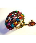 Multi Color Rhinestone Cuff Bangle Bracelet With  Matching Ring, Antique... - $25.99
