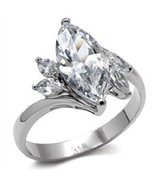 Stainless Steel Lady's Clear Marquise CZ Engagement Wedding Ring, Size  ... - $26.99