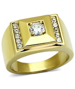 Men's Stainless Steel Ion Gold Plating Clear CZ Wedding Ring, Sz 8,9,10,... - $19.99