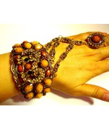 Antique Gold Tone Amber Rhinestone Cuff Bangle Bracelet With Matching Ring - $25.99