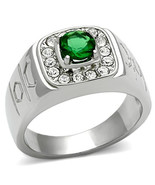 Men's Stainless Steel 0.75 Ct Emerald Synthetic Glass Ring, Size 8,9,10,11,12,13 - $19.99