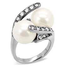 12 MM White Synthetic Pearl Stainless Steel Bridal Wedding Ring, Size 5-10 - $26.99